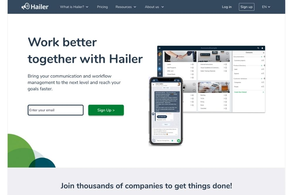 Screenshot of Hailer's main page with the new layout