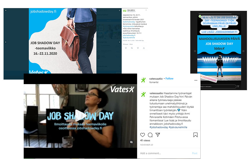 Visual representation of the social media content created for Job Shadow Day campaing